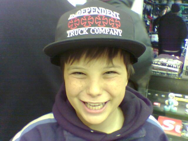 Jake in a huge trucker hat