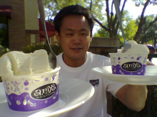Scotty with AMy's Shiner Bock ice cream
