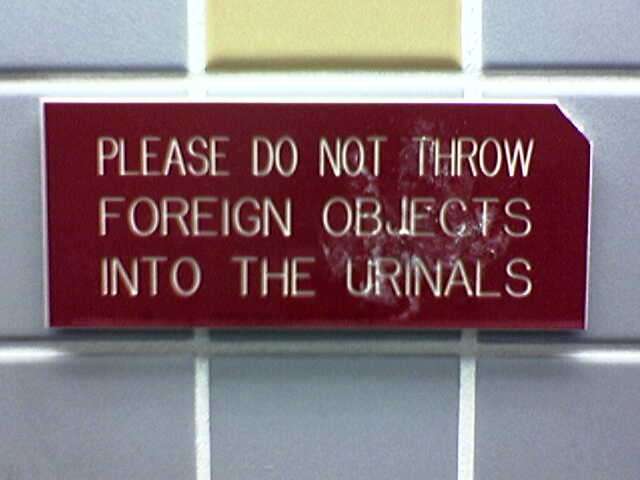 Do Not Throw Foreign Objects Into Urinals