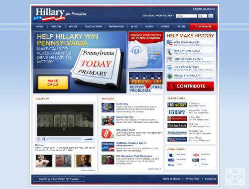 Hillary Clinton\'s Website on April 22, 2008