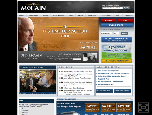 John McCain\'s Website on April 22, 2008