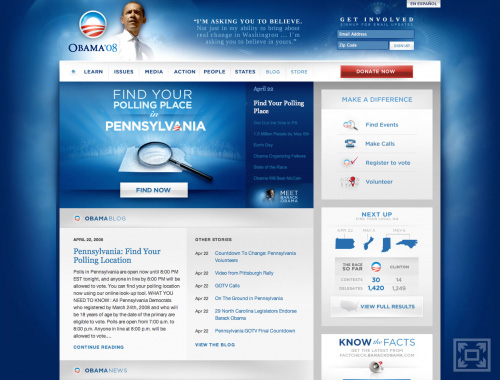 Barack Obama\'s Website on April 22, 2008