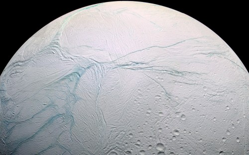 Saturn's moon Enceladus in a false color image by NASA