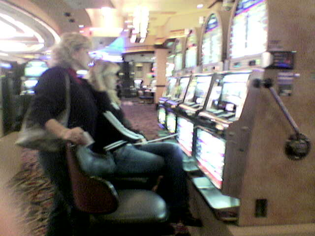 Mom and Laura at the slots